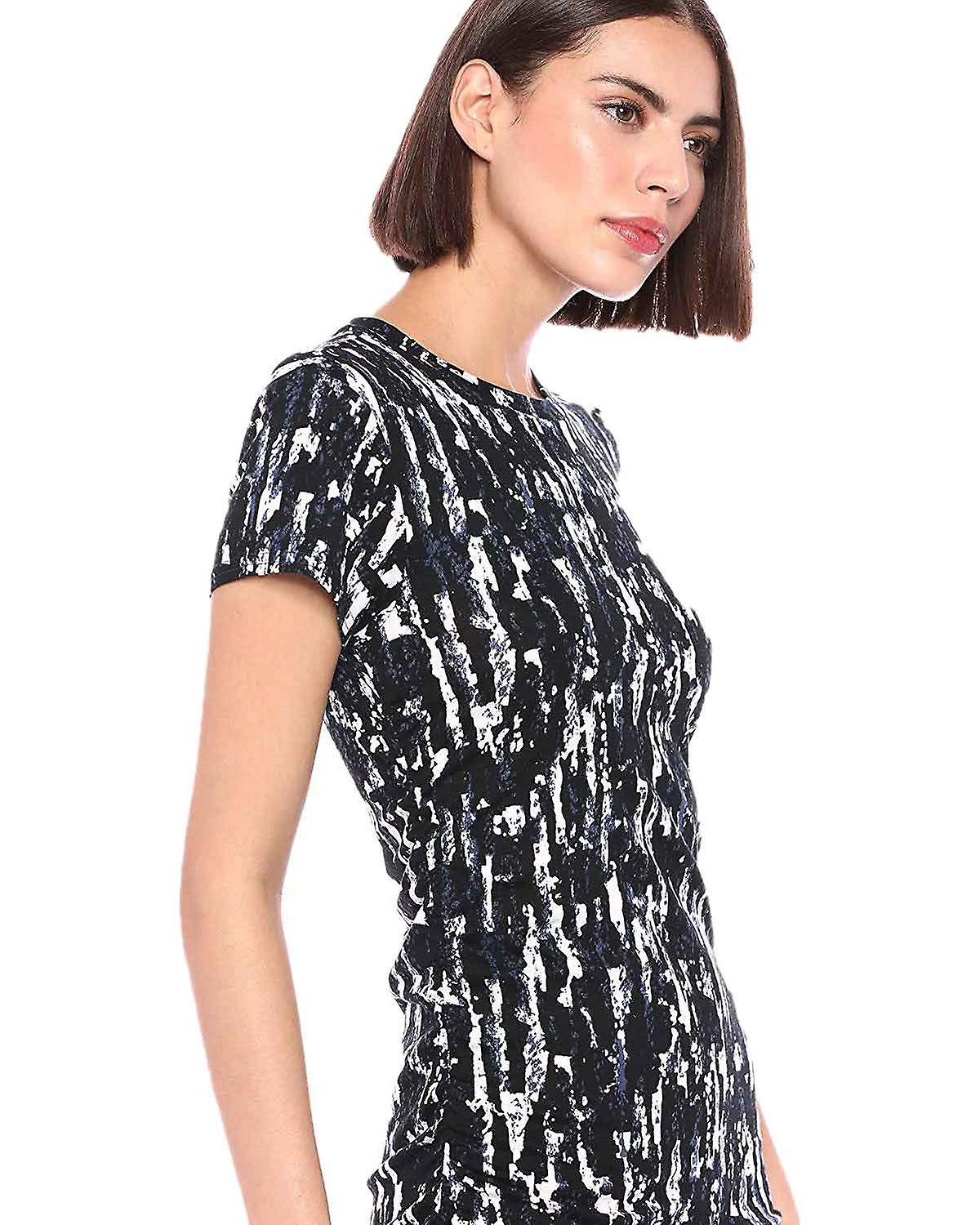 Kenneth Cole Womens Ruched Short Sleeve T Shirt Dress