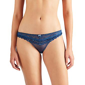 Aubade HG27 Women's L'Odalisque Deep Blue Lace Knickers Panty Full Italian Brief
