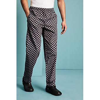SIMON JERSEY Unisex Drawstring Chef's Trousers, Grey And Black Check