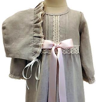 Dopklänning Och Dophätta I Lin, Ljus-rosa Rosett.  Grace Of Sweden