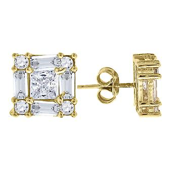 10k Yellow Gold Mens Baguette & Princess Cut CZ Cubic Zirconia Square Stud Earrings Measures 9x9.0 Jewelry Gifts for Men