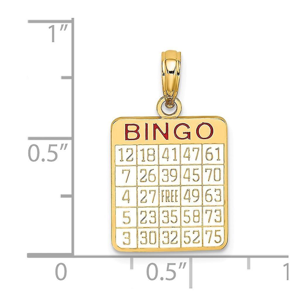 14 k Gold Bingo Karte mit Emaille Charm Anhänger Halskette Schmuck Geschenke für Frauen - 1,5 Gramm