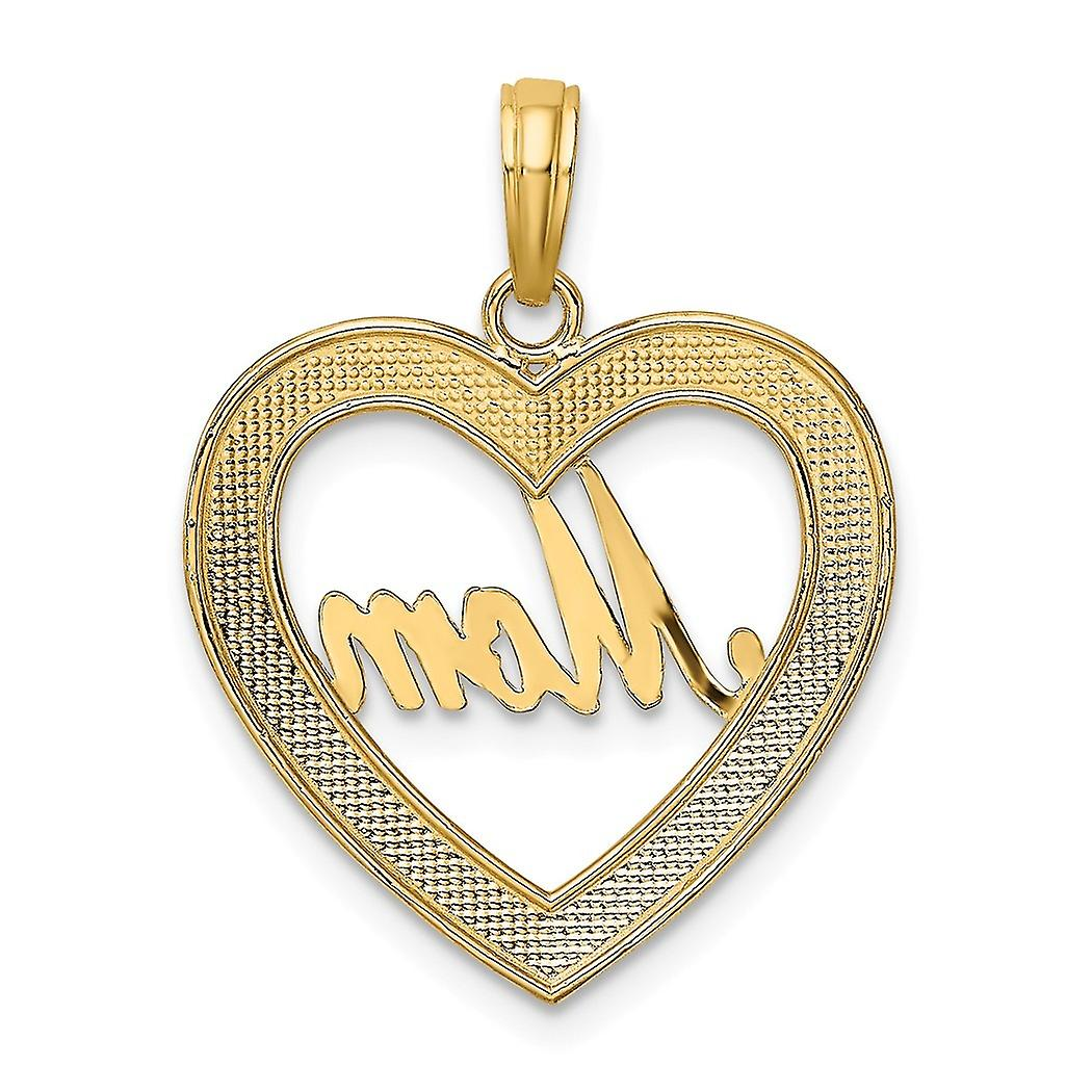 18mm 14k Two tone Gold Sparkle Cut Love Heart Pendant Necklace Frame With White Mom Inside Jewelry Gifts for Women