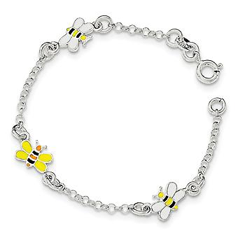 925 Sterling Silver Spring Ring Polished for boys or girls Enameled Bee Bracelet 6 Inch