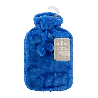 Luxe knusse Faux Fur & Pom Pom cover + warm water fles 2 liter