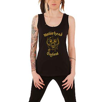 Motorhead England Gold Warpig Official Womens New Black Skinny Fit Vest Top