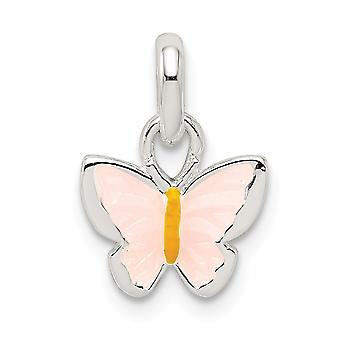 925 Sterling Silver for boys or girls Pink Yellow Enameled Butterfly Angel Wings Pendant Necklace