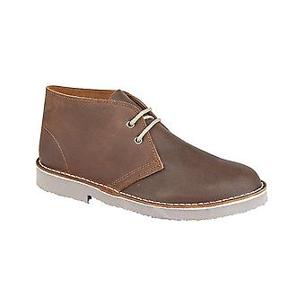 Roamers Brown Distressed Leather 2 Eyelet Desert Boot Unlined. Padded Heel Sock Tpr Sole