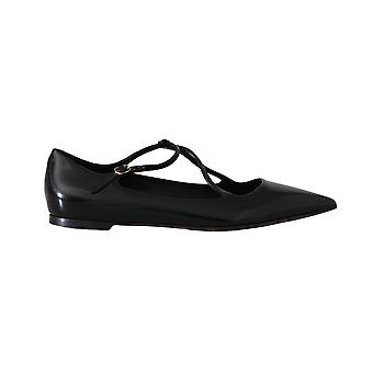 Dolce & Gabbana Black Leather Leopard Ballet Flats
