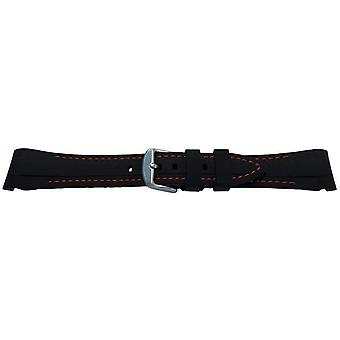 Rubber watch strap for rolex gmt oyster & omega seamaster black/red stitched 20mm