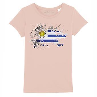 STUFF4 Girl's Round Neck T-Shirt/Uruguay/Uruguayan Flag Splat/Coral Pink