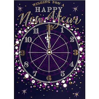 Simon Elvin Large Clock New Year Wishes Cards (Pack de 6)