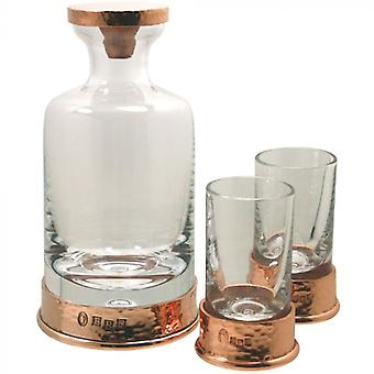 Pewter Rose Hammered Mini Decanter Set 180ml com 2 óculos de tiro correspondentes presente encaixotado