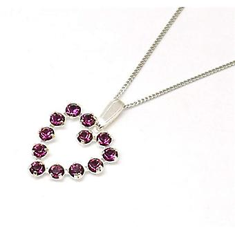 CRYSTALWORLD Sterling Silver Amethyst Heart Pendant Made With Swarovski Crystals On Chain