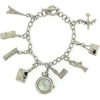 Charmed Ladies Analogue T-Bar Bracelet Charm Watch & 8 Hanging Charms Gift Set