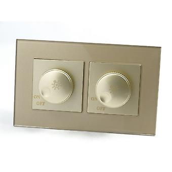 I LumoS AS Luxury Gold Crystal Glass Double Frame 2 Gang Rotary Dimmer Light Switch