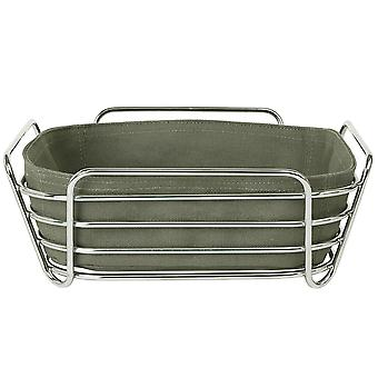 Blomus bread basket DELARA big cotton liner chrome plated steel wire Agave Green