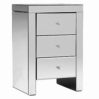 Charles Bentley Contemporary Mirrored 3 Drawer Bedside Table