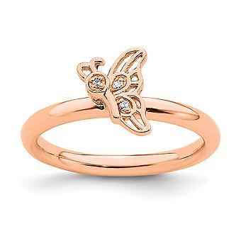 2.5mm 925 Sterling Argento Impilabile Espressioni Rosa placcato Farfalla Angel Wings With Dia. Ring Gioielli Regali per le donne