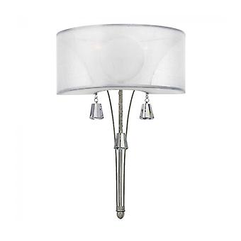 Wall Lamp Mime, Brushed Nickel And Crystal, 2 Bulbs