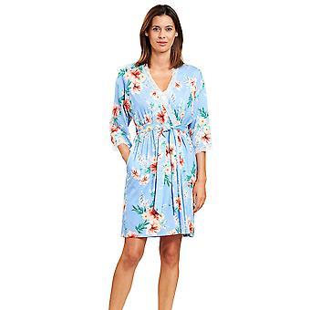 Rösch 1203100-16070 Women's New Romance Blue Hibiskus Floral Robe Dressing Gown