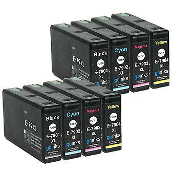 2 készlet 4 tintapatronból az Epson T7906 (79XL sorozat) helyett Kompatibilis/nem OEM a Go Inks (8 festékek)