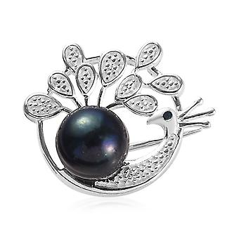 TJC Peacock Brooch Pin with Freshwater Pearl and Blue Diamond Sterling Silver