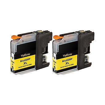 RudyTwos 2x Replacement for Brother LC-225XLY Ink Unit Yellow Compatible with DCP-J132W, DCP-J152W, DCP-J172W, DCP-J552DW, DCP-J752DW, DCP-J4110DW, MFC-J245, MFC-J470DW, MFC-J650DW, MFC-J870DW, MFC-J4