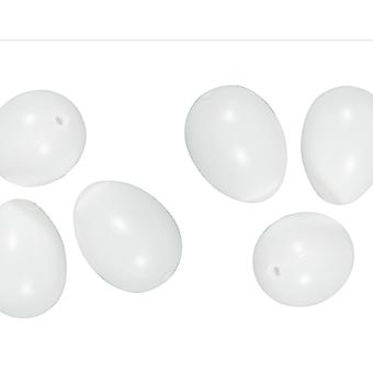 12 White 4.5cm One Piece Plastic Eggs for Easter Crafts
