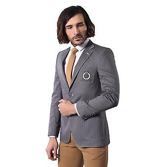 Mens striped emblem summer light smoked blazer