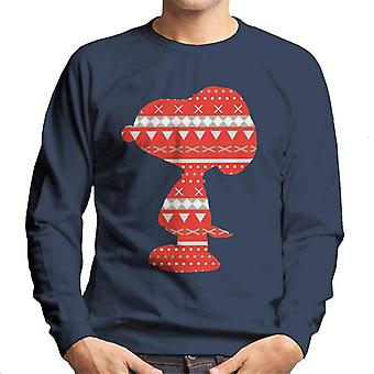 Peanuts Snoopy Red Pattern Silhouette Men's Sweatshirt