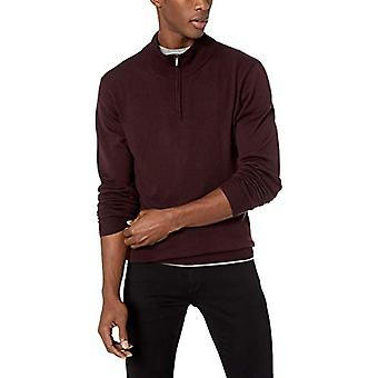 Goodthreads Men's Merino Wolle Quartal Zip Pullover, Burgund, Medium