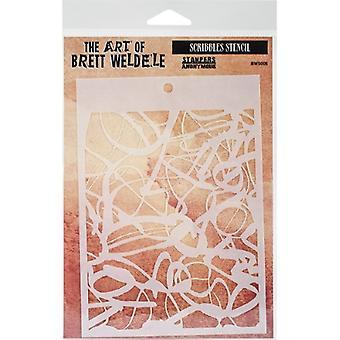 """Brett Weldele Stencils 6.5""""X4.5""""-Scribbles"""