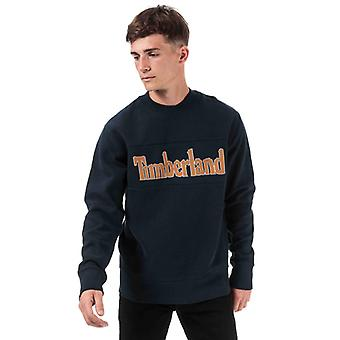 Men's Timberland Geschnitten & Nähen Logo Crew Sweatshirt in blau