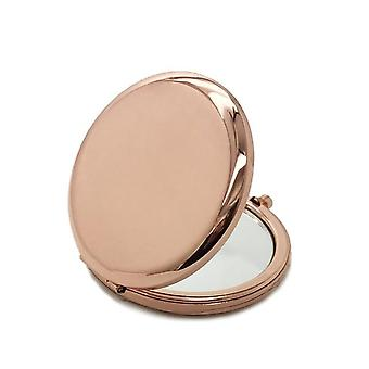 1pc Portable Makeup Mirror -solid Color Metal Round Case Double Side Pop Up Pocket Mirror For Beauty Accessories
