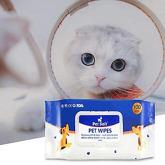 Pet Cleaning Non-Alcohol Natural And Gentle Wipes 100Pcs For Removing Eye Stains And Odor - Pet Disinfection Towel