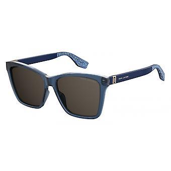 Sunglasses Women Rectangular Glitter Blue/Grey
