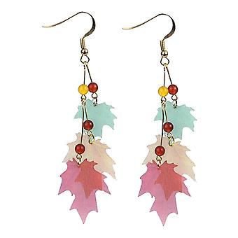 Falling Japanese Leaves Organza and Gem Stone Drop Earrings