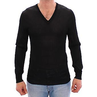 Dolce & Gabbana Black V-Neck Rayon Sweater Pullover MOM11304-4