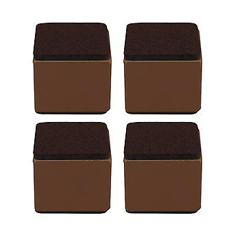 4pcs 60x52mm Carbon Steel Brown Furniture Legs Lifter Self Adhesive Brown
