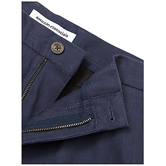 Essentials Men's Slim-Fit Wrinkle-Resistant Flat-Front Chino Pant, Navy, 32W x 28L
