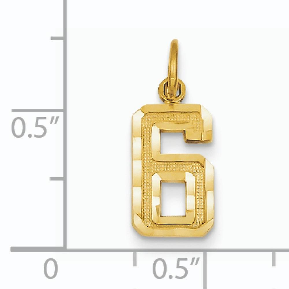 14k Small Sparkle Cut Sport game Number 06 No Bale Charm Pendant Necklace Jewelry Gifts for Women