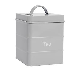 Industrial Tea Canister - Vintage Style Steel Kitchen Storage Caddy with Lid - Grey