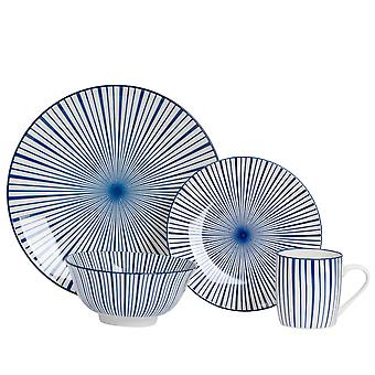 Nicola Spring 24 Piece Stripe Patterned Dinner Set - Dinner Plates, Side Plates, Bowls and Mugs - Navy Blue