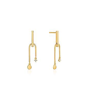 أنيا هاى الأذن نذهب الذهب لامعة مزدوجة قطرة الأقراط مسمار E023-19G