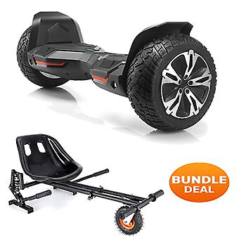 "8.5"" G2 PRO Monster Black All Terrain Bluetooth Segway Hoverboard with a Monster Kart in Black"