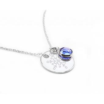 Ah! Jewellery Sterling Silver Snowflake Engraved Circle Necklace With A Sapphire Dangle Crystals From Swarovski, Stamped 925.