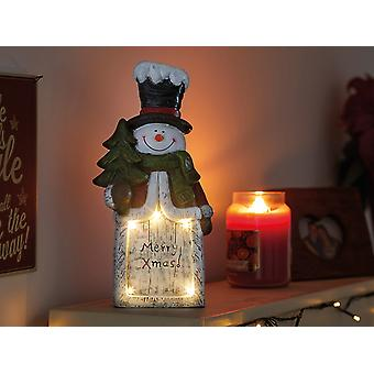 Smart Solar Merry Xmas Snowman In Lit Statue 2535016
