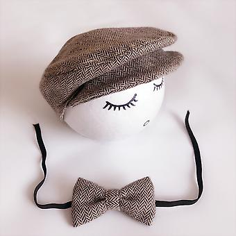Newborn Baby Hat Costume Little Gentleman Bow Tie Photography Props Studio