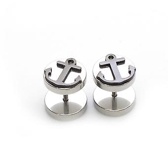 Fake faux cheater illusion ear plug earrings with anchor design 16g